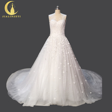 Rhine Real Sample Image Pictures Lovely Flowers Crystal Beadings Sexy Back Ball Gown Bridal Wedding Gown wedding dresses