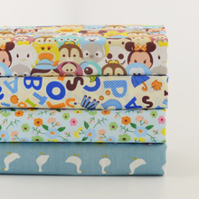 News 4 PCS/ lot fat quarter printed floral fabric light blue design twill clothing for sewing quilting charm pack home textile