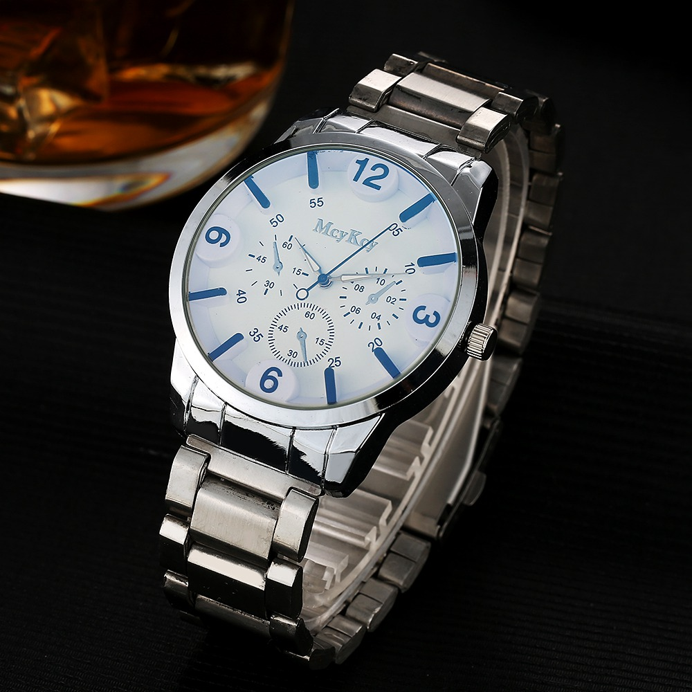 Mcykcy Men Watches Top Brand Luxury Stainless Steel Silver Blue Wristwatch Fashion Casual Business Waterproof Quartz Clock MY047 new arrival 2015 brand quartz men casual watches v6 wristwatch stainless steel clock fashion hours affordable gift