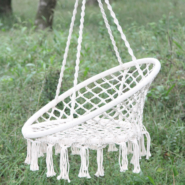 rope chair swing tall kitchen tables and chairs nordic style home decor 100 cotton high quality beige hanging macrame hammock