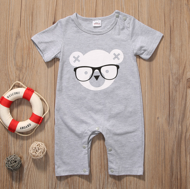 2017 Newborn Infant Baby Boy Girl Kids Bear Romper Jumpsuit Cotton O-neck Gray Bear Clothes Outfits Size 0-2Y 3