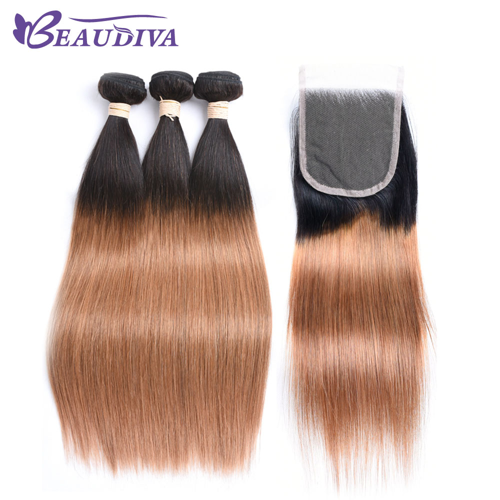 Beaudiva Pre-Colored Ombre Human Hair With Closure 4*4 Brazilian Hair Straight T1B/30 Da ...