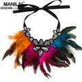 MANILAI Women Feather Collar Necklace Boho Jewelry Glass Crystal Gems Big Choker Statement Necklaces & Pendants Accessories