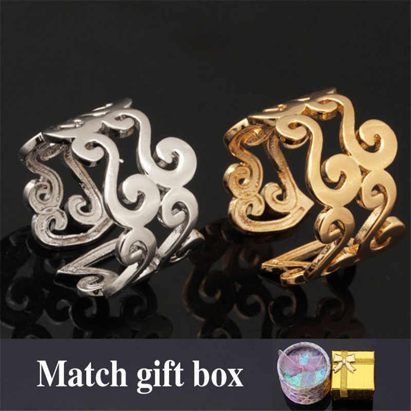 Gold Color Romantic Scroll Cute Adjustable Size Ring Fashion Jewelry For Women MGC Wholesale R5192