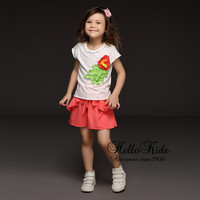 Retail Children Summer Clothes Suits Cotton T Shirt With Flower Toddle Pink Pants For Girls 2017 Girls Clothing Sets