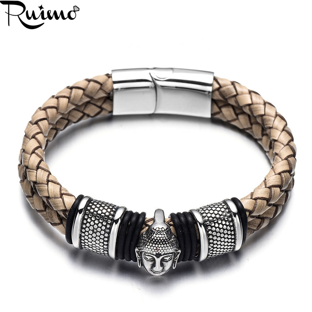 Mens Brown Braided Leather and Stainless Steel Bracelet with Magnetic Closure 9