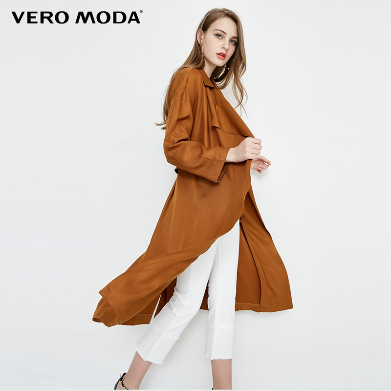 Vero Moda Two way Sleeves Lapel Medium Length Wind Coat  318121536-in Trench from Women's Clothing    1