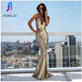 Sexy Ouro Lantejoula Backless Da Sereia Prom Vestidos Longos Vestido de Noite Mulheres Vestido de Festa Vestido De Festa