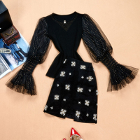 Autumn Spring Korea Stylish Women's High Street Casual Twin Sets Mesh Sleeve Sweater Beading Skirt Fashion Skirt Suits