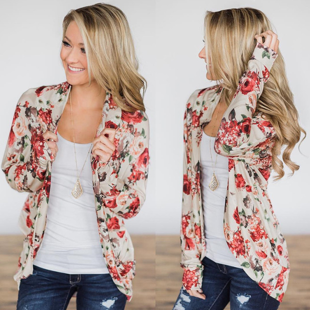 2019 otoño estampado Flora moda mujer abrigo invierno