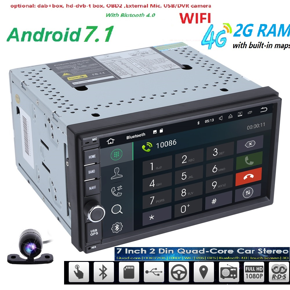 Universal 2din car radio Android 7.1 for Nissan Car NO-DVD player GPS Wifi BT 2GB RAM 32GB ROM 16G 4G Flash FREE MAP LTE Network 10 1 tda7851 android 7 1 for hyundai ix35 tucson 2015 2016 2017 2gb ram car dvd player gps map rds radio wifi 4g bluetooth 4 0