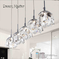 Nordic Modern Simple Personality LED Crystal Hanging Lamp Single Head Three Restaurant Bar Bedroom Lighting