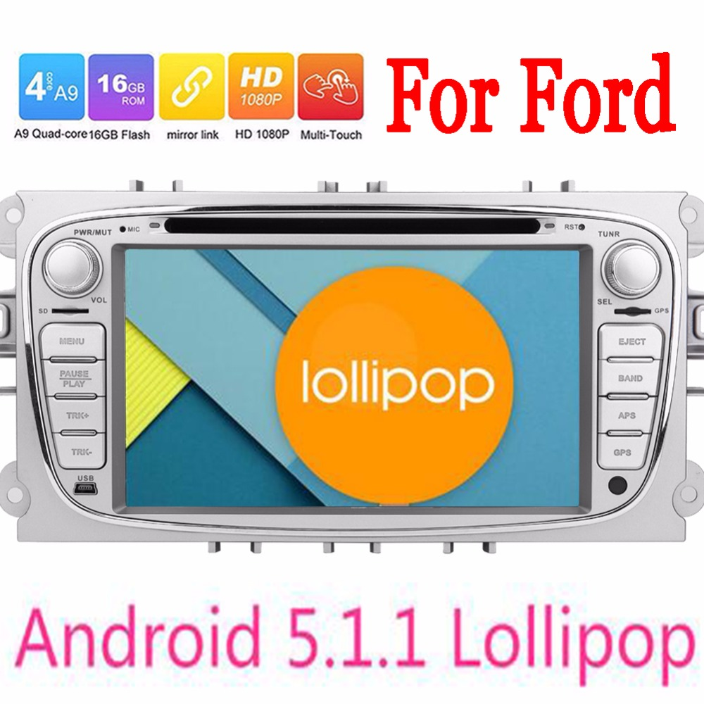 Double 2 Din Android 5.1 Quad Core 1024*600 Car DVD Player GPS Navi For Ford Focus Mondeo 3G Audio Radio Stereo 2 Din Head Unit