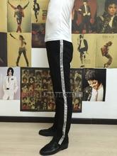 На заказ Майкл Джексон Косплей Билли Жан Пант Щепка Прямо Повседневная полоса Брюнетка Костюм Аксессуары MJ Брюки 3 цвета