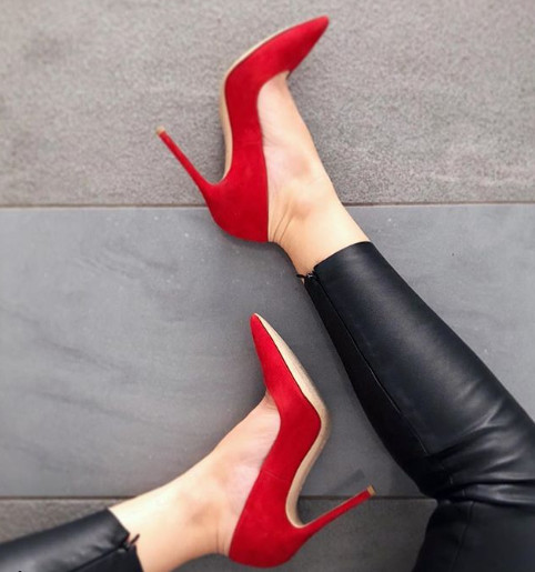 Women pumps thin heel shoes 10CM Genuine suede leather stiletto pointed toes Woman sexy party dress high heels plus size35-42 mcckle woman pointed toe zip high heels sexy party dress pumps female suede thin heel metal pendant stilettios women shoes page 3