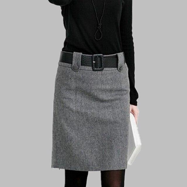 f777e15ecdf New 2019 Fashion Autumn Winter Spring Skirt Woolen Skirt Women Plus Size  Skirt Elegant Slim High Waist Formal Skirts Womens LY49
