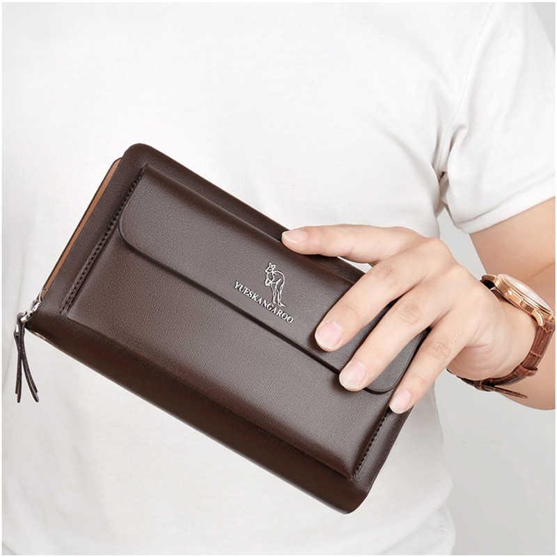 カンガルーブランドの男性バッグファッション革ロング財布ダブルジッパービジネス財布黒茶色の雄カジュアル便利なバッグ