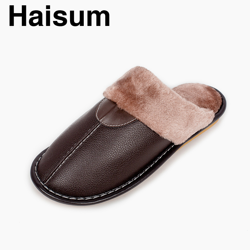 Men 's Slippers Winter Pu Leather Home Indoor Non - Slip Thermal Slippers 2018 New Hot Haisumtb016 plush home slippers women winter indoor shoes couple slippers men waterproof home interior non slip warmth month pu leather