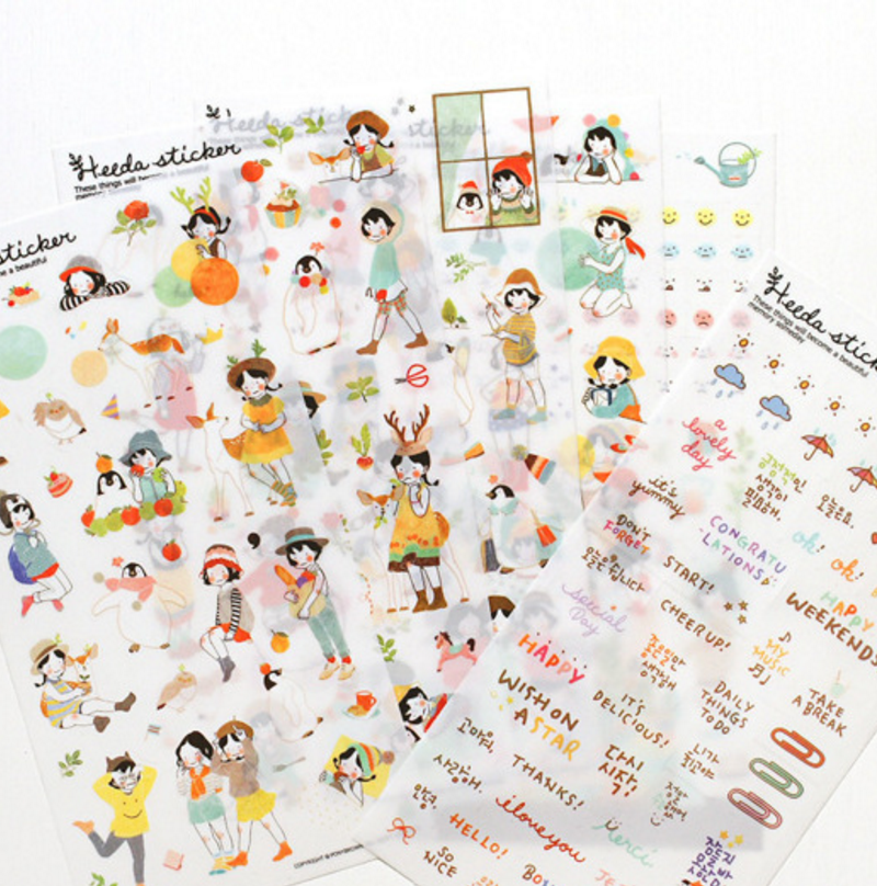6 Sheets/set Cute Heeda Girls PVC Sticker Korean Style Cute Kawaii Planner Stickers For Notebook Diary Deoration