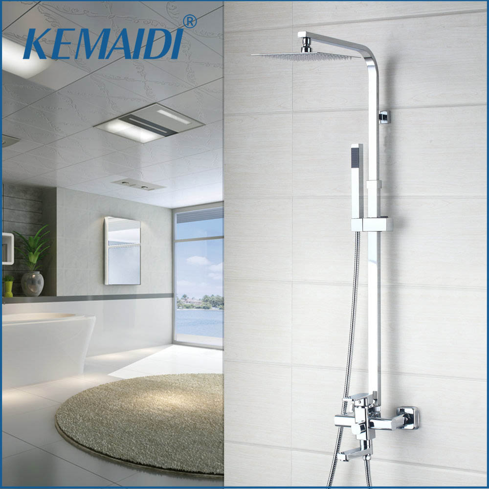 KEMAIDI 3 Size LED Shower Head Faucets Set WaterTap Rainfall Handheld Chrome Square Sprayer Hand Top Bathroom Shower SetKEMAIDI 3 Size LED Shower Head Faucets Set WaterTap Rainfall Handheld Chrome Square Sprayer Hand Top Bathroom Shower Set