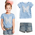 2016 New summer Style casual dress cartoon sky blue T-shirt +jeans girls clothing sets children clothing girls clothes
