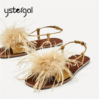 Ystergal Bohemia Feather Decor Women Sandals Summer Beach Shoes Woman Gladiator Sandal Fur Flat Shoes Valentine Shoes Flats