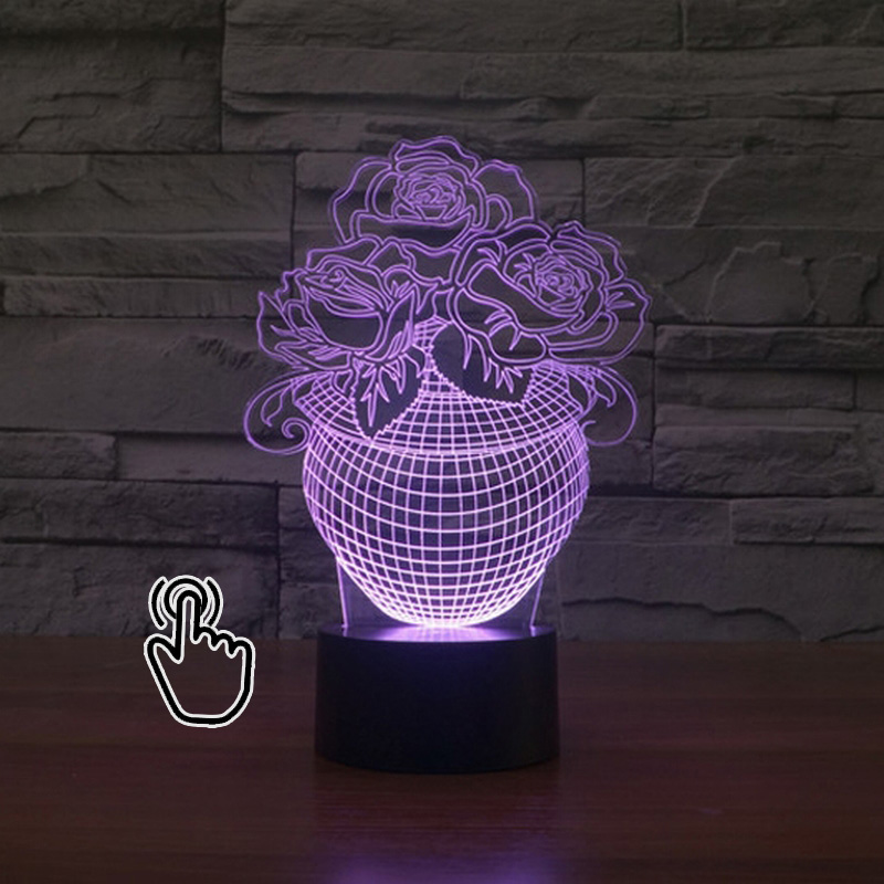 3D LED Hologram Illusion Night Light USB 3D Visual Table Flower 7 Color Changeable 3D Lamp Decor Bedroom Lighting 7 color touch lotus 3d colorful night light strange stereoscopic visual illusion lamp led lamp decor light as flower arrangement