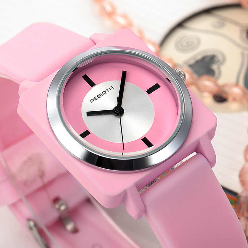 Fashion Trend Watch Women Quartz Square Dial Silicone Ladies Wristwatch Students Lovely Jelly Gift Bayan Kol Saati Pink Top Sell