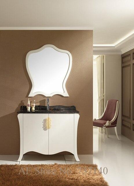 Mobiletto del bagno bianco con marmo naturale in legno massello di ...
