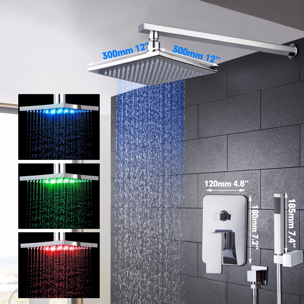 LED 12 Shower Head Bathroom Shower Set Brass Chrome Polished Square Style Bathroom Shower Faucets Hand