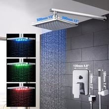 LED 12 «Насадки для душа Ванная комната набор для душа латунь хром полированной квадратный Стиль Ванная комната Смесители для душа ручной смесители