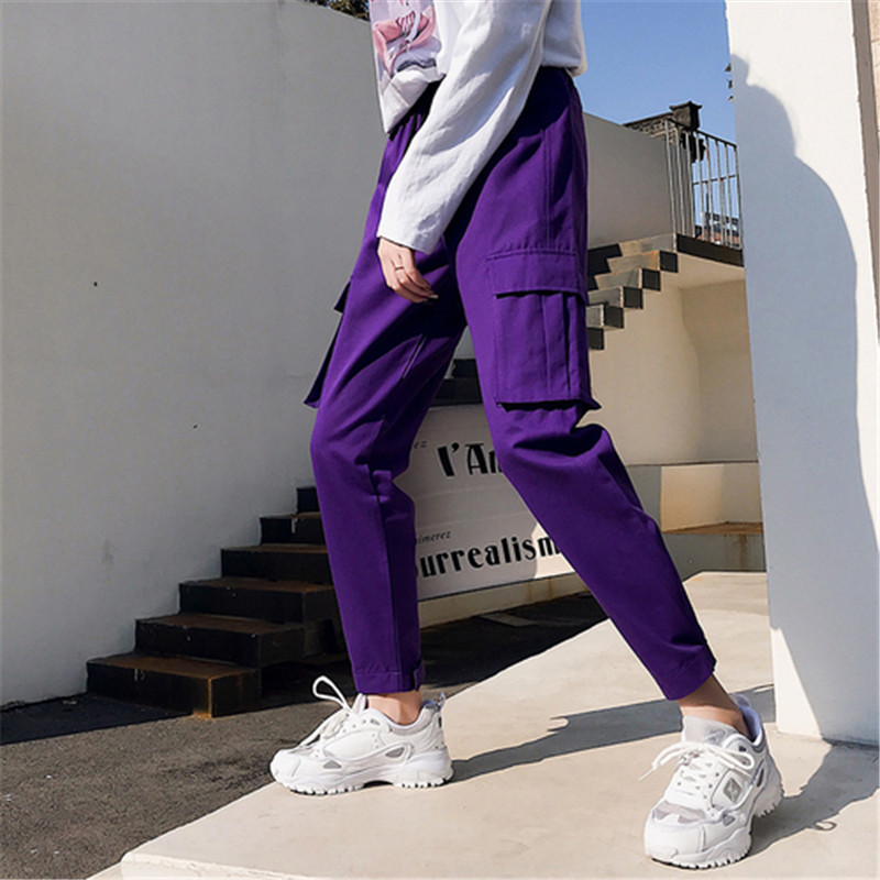 WKOUD Women Solid Cargo Pants 2019 Casual Ankle-length Candy Color Pants High Waist Trousers Female Pocket Sweatpants P8952