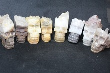 140-165g NATURAL  quartz Crystal carves skull HEALING