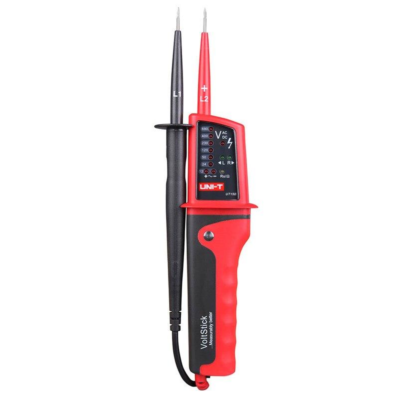 UNIT-T Voltmeter ammeter UT15C LCD display Voltage Tester IP65 waterproof Auto Range AC DC voltmeter digital 12V voltmeter pen 5pcs dc 6 12v measuring range 2 wire connect red led digit voltmeter