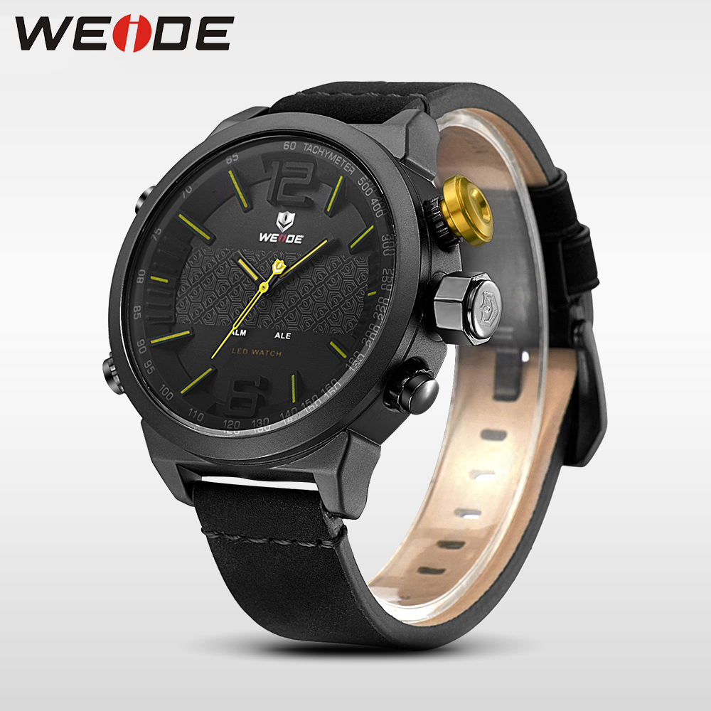 купить Weide Brand Luxury watch Men Sports leather Watches LED Quartz Wrist Watches analog men watch water resistant relogios masculino по цене 2118.8 рублей