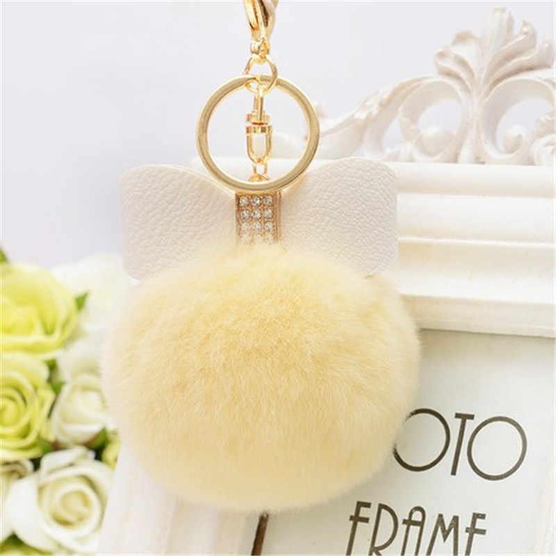 8 cm bonito pompom de pele chaveiro coelho brinquedo orelha coelho saco de lâmpada de pele pom pom bola chaveiro porte clef para mulher adorável fofo