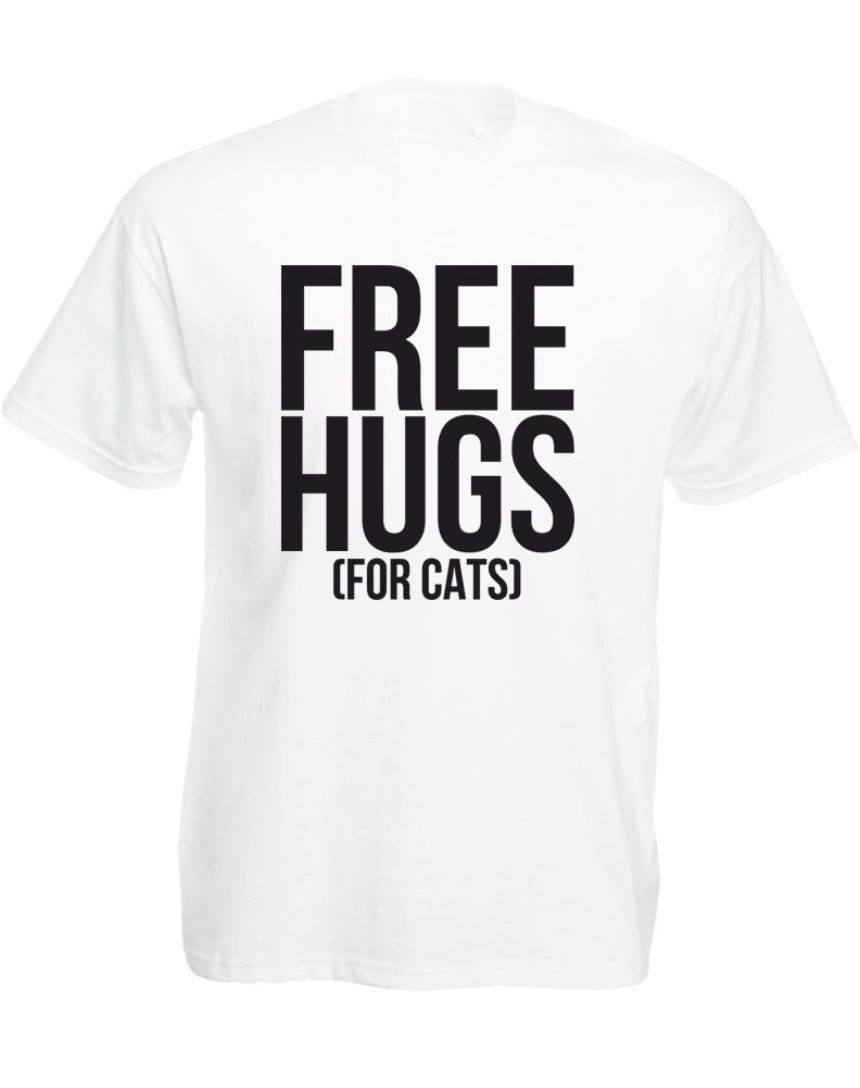 Make Your Own Logo T Shirt Vintage MenS Fashion Crew Neck Super Free Hugs (For Cats) Short Sleeve T Shirts