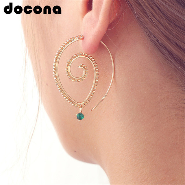 docona Bohemia Personality Round Spiral Drop Earrings Exaggerated Gold Silver Wh