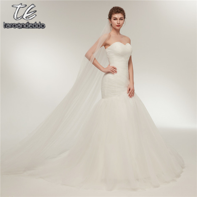 In Stock New Ruched Bodice Hot Mermaid Wedding Dress Lace Up White Ivory Marry