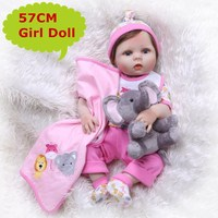 NPK 23Inch Hot Full Silicone Vinyl Reborn Baby Doll Realistic Girl Babies Dolls Lifelike Kids Toy As Children Birthday Gift