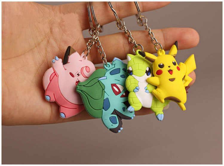 3D figura de Anime Pokemon Go llavero lindo dibujos animados de PVC bolsillo monstruos Pikachu colgante llavero niños llavero regalo