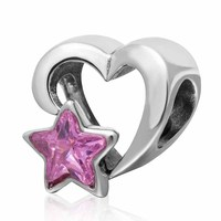 925 Sterling Silver Heart Beads Love Charms With Pink Star Valentine S Day Gift Fit Original