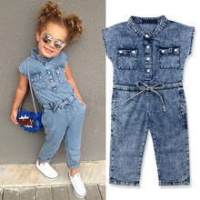 2019 girls fashion denim jumpsuit summer fashion kids baby girls clothes children's solid color single-breasted denim jumpsuit