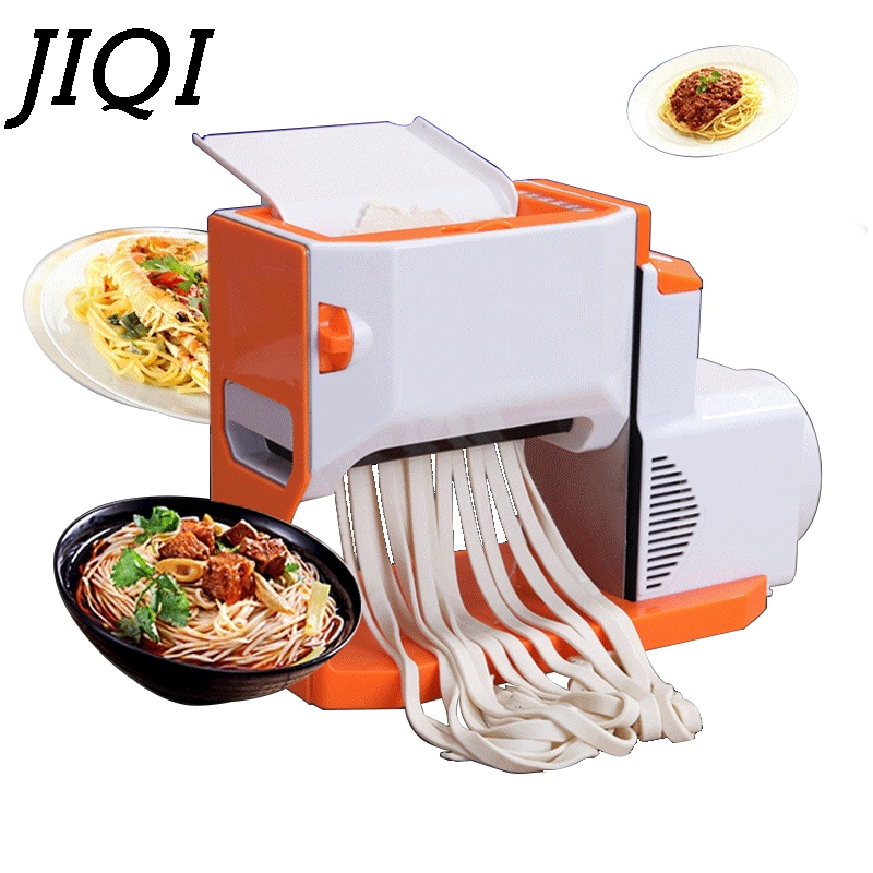 JIQI Electric Noodle Maker Automatic Dough Roller Pressing Pasta Making Machine Manual Hand-Crank Spaghetti Noodles Cutter EU US