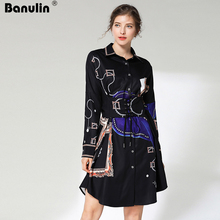 Banulin Shirt Dress Women Elegant 2019 Summer Vetement Femme Autumn Dresses Floral Print Runway Buttons Casual