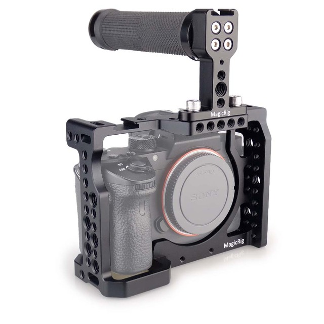 US $77 48 37% OFF|MAGICRIG DSLR Camera Cage with Top Handle For Sony A7II  /A7III /A7SII /A7M3 /A7RII /A7RIII Camera To Quick Release Extension Kit-in
