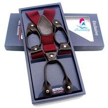 3.5*115cm Men Womens Clip-on Suspenders Elastic Y-Shape Adjustable Braces Solids 6 Colors leather button belts for wedding