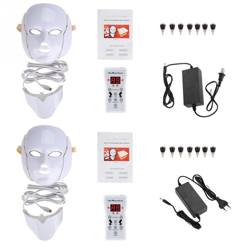 7 ألوان LED الفوتون العلاج قناع الوجه الرقبة المضادة للتجاعيد حب الشباب إزالة الوجه الجلد تجديد آلة الوجه العناية بالبشرة أدوات-في أدوات العناية ببشرة الوجه من الجمال والصحة على  مجموعة 1