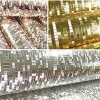 Glitter PVC Rolos de Papéis de Parede Papéis De Parede Efeito Espelho Mosaico Brilho Luz Refletir Folha de Prata Dourada Cobrindo Paredes Home Decor