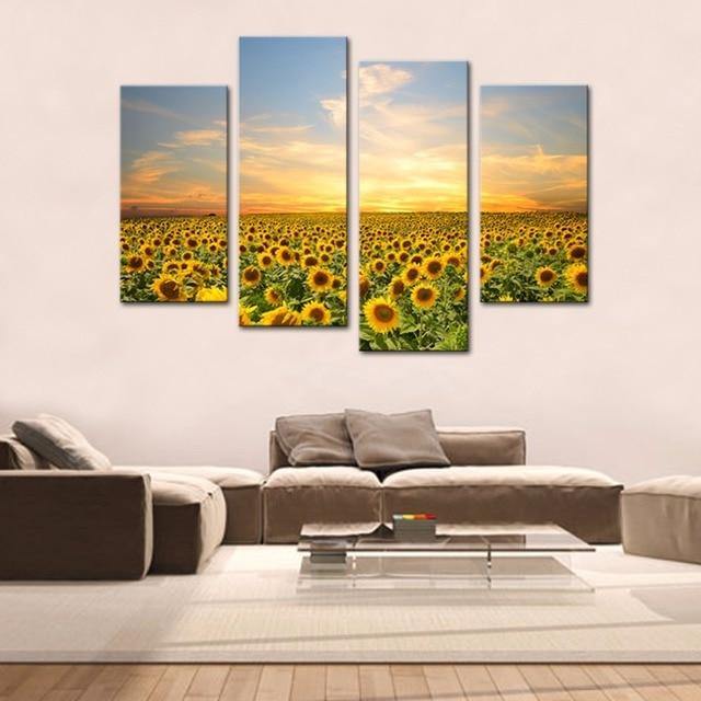 4 Panels Sunflowers Canvas Paintings Artwork Landscape Pictures ...